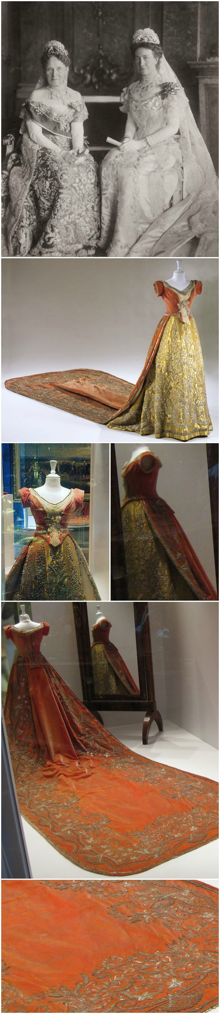 Court dress belonging to Grand Duchess Louise of Baden. Court train: 1856 (Berlin); skirt: 1870/80, bodice: 1880/1911 (Baden). Badisches Landesmuseum. Velvet, metal thread, silk fabric, gold lame. The grand duchess (pictured left with her daughter, Crown Princess Victoria of Sweden) wears a similar skirt in a 1900s photo courtesy of Carolath Habsburg Tumblr. Photos of the dress: Badisches Landesmuseum; Badische Heimat 2002 (via Badisches Landesmuseum on zum.de); Cheryl Hammond…