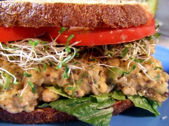 "Vegan recipes (vegan ""tuna"" salad made with chickpeas pictured)"