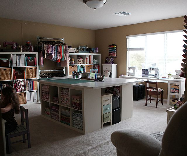 Really like the storage and space in this room.  The table is a nice idea, but would be too low for me because I stand to work.  But it's a great starting point.
