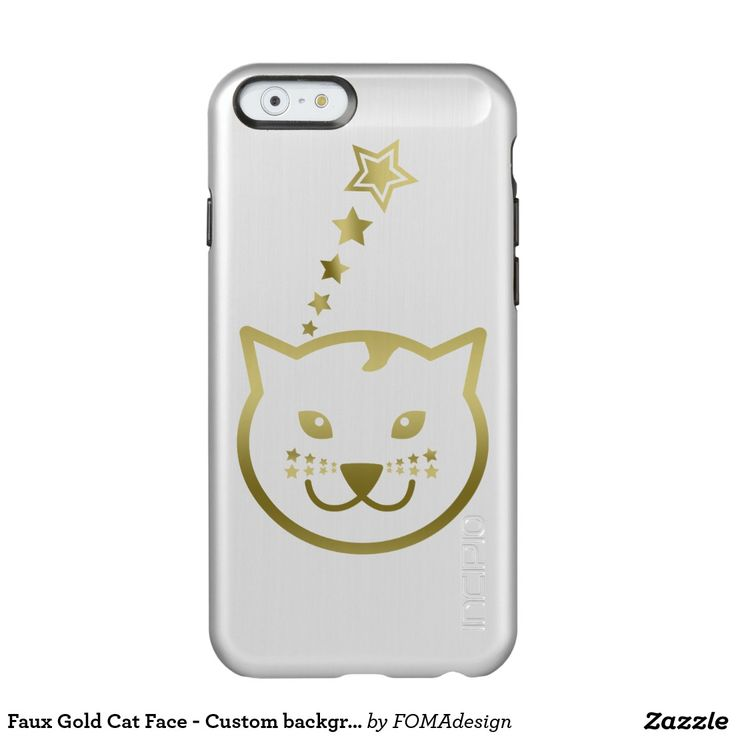 Faux Gold Cat Face and Stars - Custom background color / Incipio Feather® Shine iPhone 6 Case, by FOMAdesign