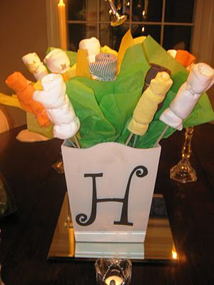 Onesie Bouquet...perfect for baby showers.