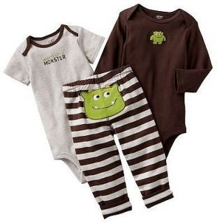 carters baby | NWT Carters Baby Boy Clothes Set 2 Bodysuits Pants Brown Monster 3 6 9