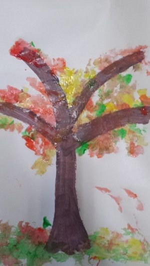 fall toddler craft - Fall Autumn Tree with cotton wool painting. Fall crafts for toddlers, fall painting ideas for toddlers