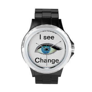 I watch and see change blue eye wrist watch