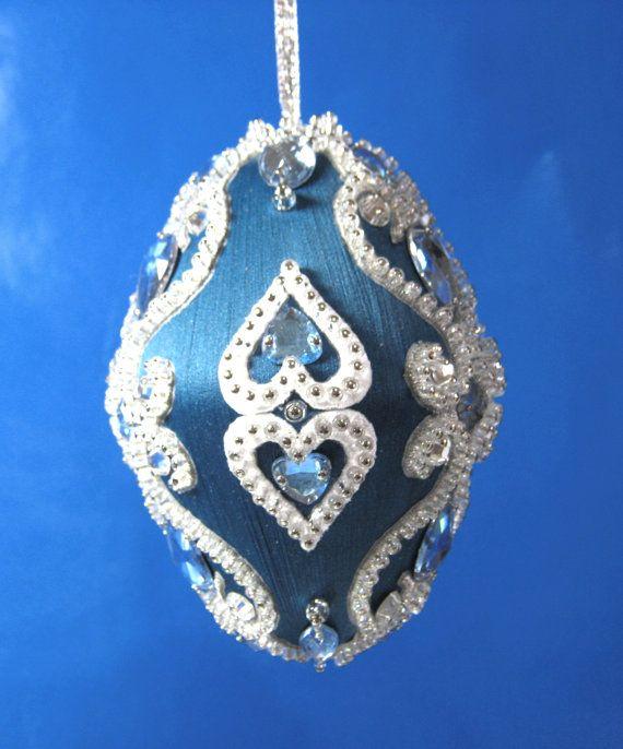 224B abalorios plata en pato silvestre azul