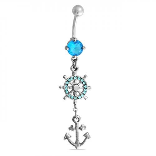 Nautical Anchor Wheel Aquamarine Color Dangle Belly ring 316L Steel
