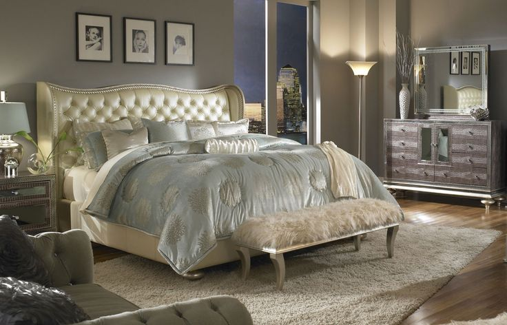 Beatrice Four Piece King Bedroom Set - Pearl Finish - Huffman Koos Furniture