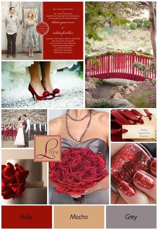 Love the red and grey together- Wedding colors idea