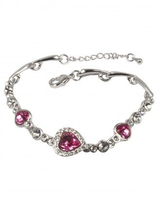Ruby Crystal Diamante Jewellery Bracelet Made With Swarovski Crystals Silver Finish Red Swarovski Bracelet KVE4zE9mPZ