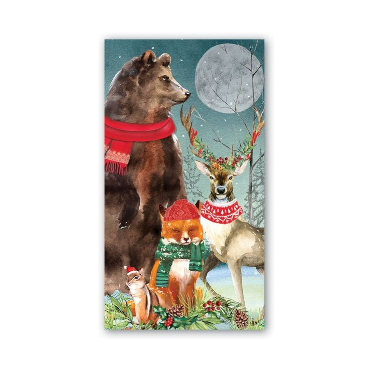 deer owl 20 napkins animal families in winter fox 33 x 33 cm deer birds
