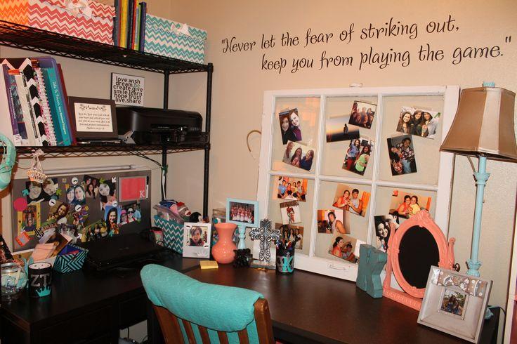 College Apartment Dorm desk area sophomore year coral  ~ 054541_Aqua Dorm Room Ideas