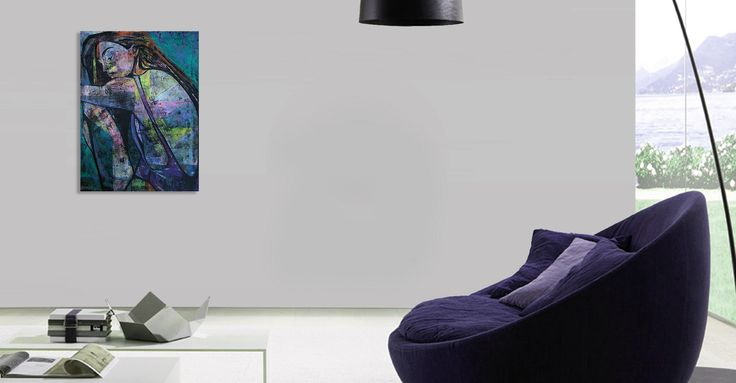 Wall, armchair and contemporary painting of a woman - 'Summertime 3' by @anialuk_art