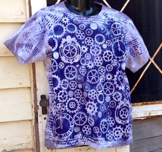 Steam punk clocks tie dyed hand printed shirt by SewObsession