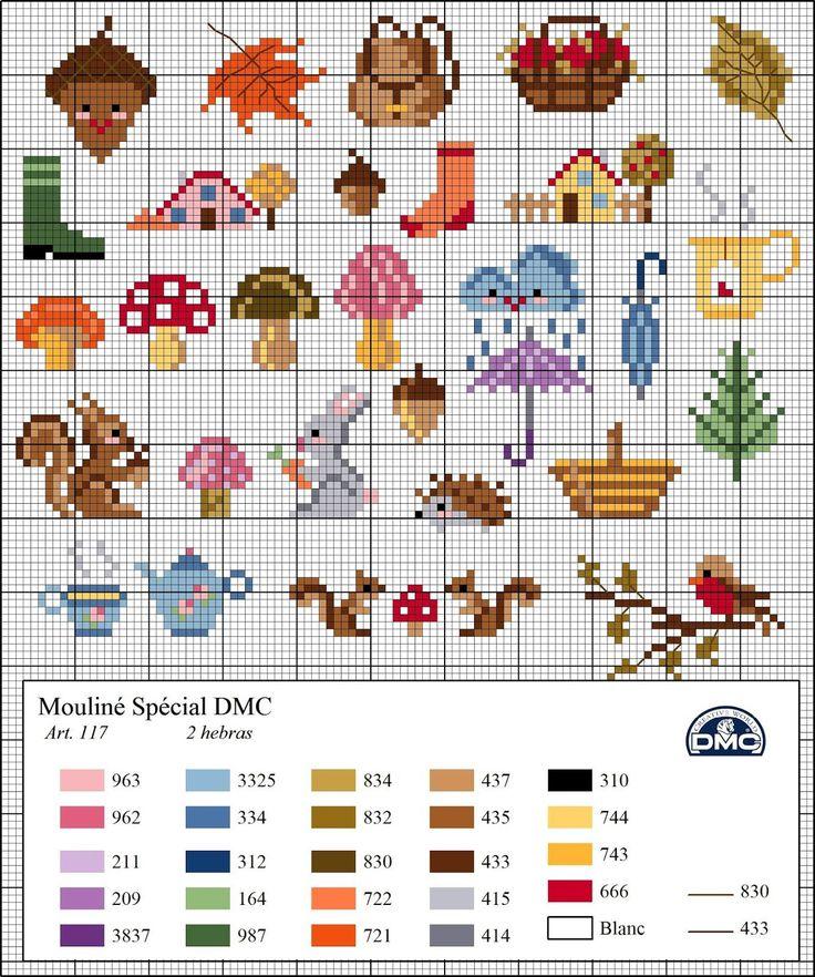 A DMC lançou estes lindos mini gráficos com tema de outono. São lindos, fáceis e aplicáveis em muita coisa! Use sua criatividade.