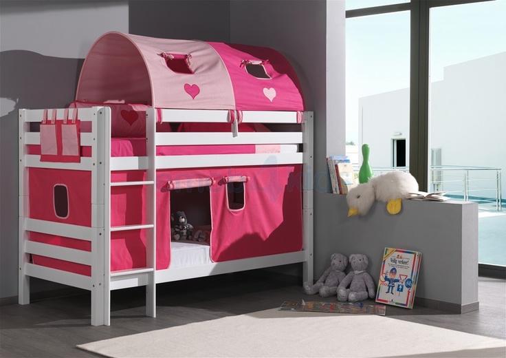 Lits colorés - lit superposé rose avec des coeurs - lit de fille   Emob4kids
