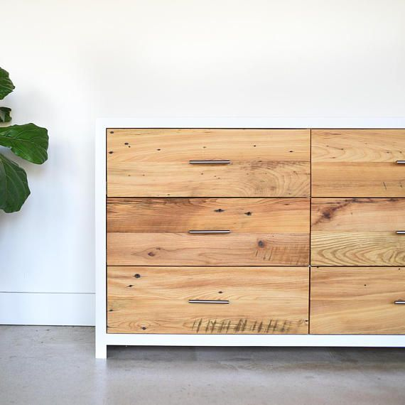 Large Dresser Reclaimed Wood And White 6 Drawer Dresser Scandinavian Dresser White Rustic Dresser Wood Furniture