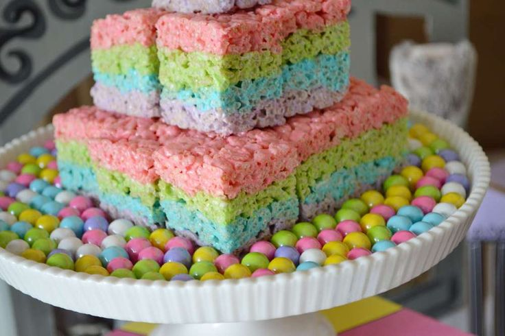 Rice Krispie treats at a rainbow zoo birthday party! See more party ideas at CatchMyParty.com!