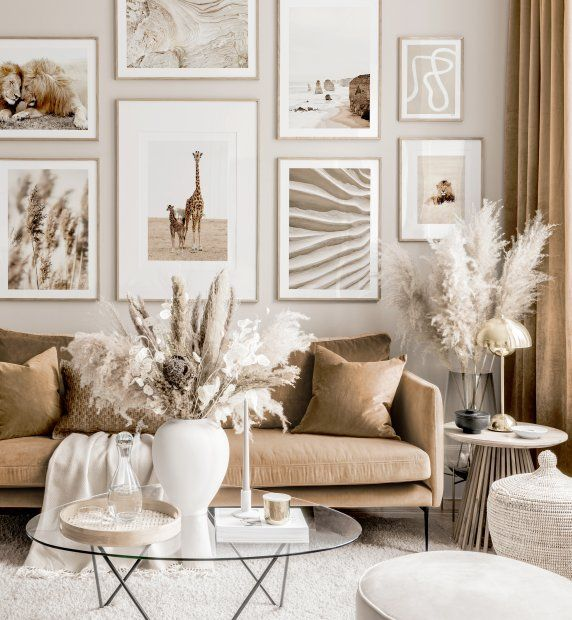 Warm Nature Gallery Wall Beige Living Room Animal Posters Oak Frames Beige Living Rooms Living Room Decor Apartment Cosy Living Room Living room ideas photo gallery