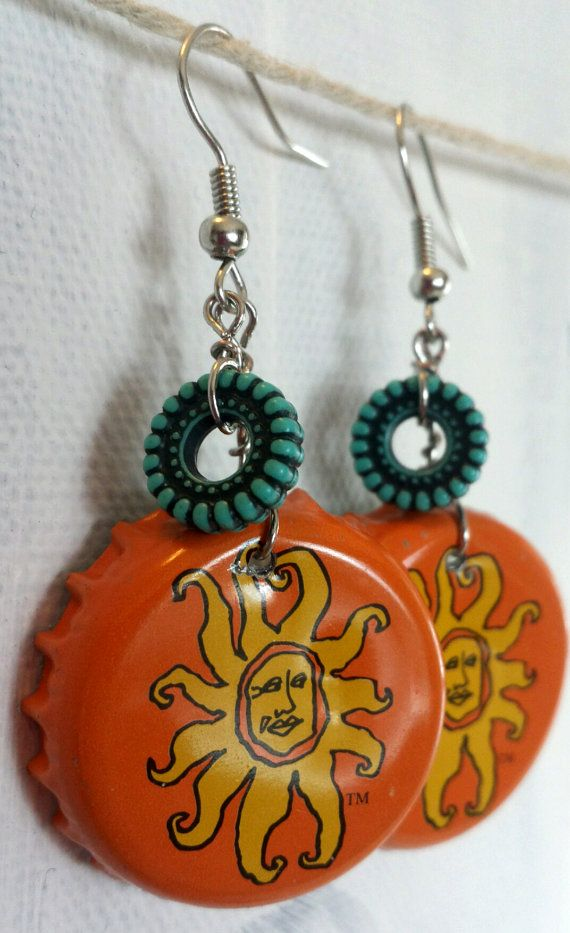 Oberon beer bottle cap earrings