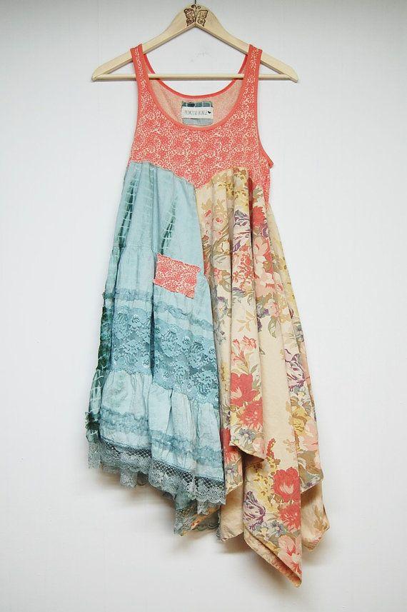 L/XL Hippie Boho Dress Funky Artsy Dress by PrimitiveFringe