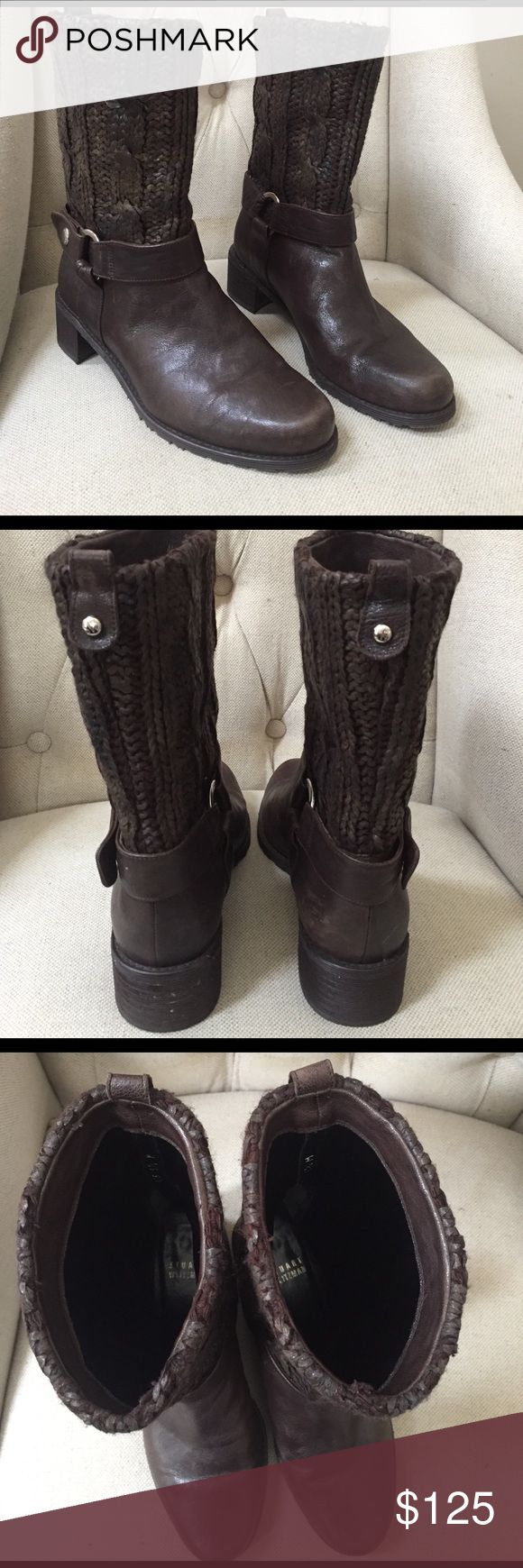 "Stuart Weitzman Pimlico Boots Unique mid calf boots from Stuart Weitzman! Rich dark brown color. Pull-on style is Lacquered Pimlico with a coated cable knit woven upper. Harness detail with silvertone buckle hardware for a motorcycle inspired look. Rubber sole and 1.75"" heel. In great condition! Stuart Weitzman Shoes Heeled Boots"