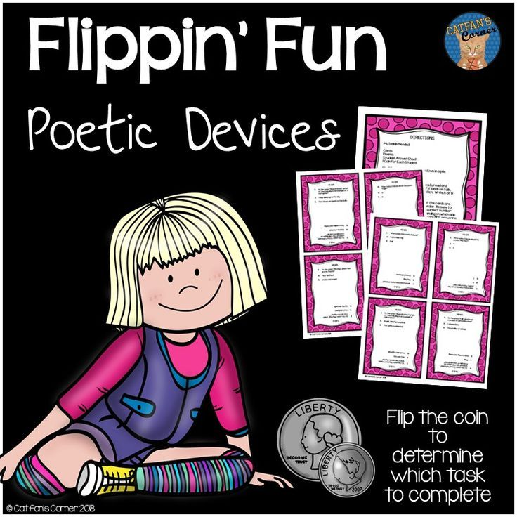 Poetic devices a fun new twist on an ordinary task card let the flip of the coin fandeluxe Image collections