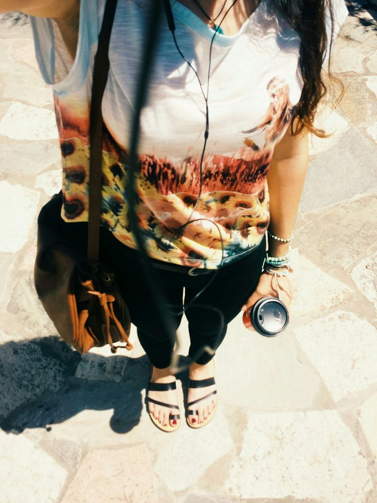 Black jeans Boho crop top Black sandals Brown bag #all_time_BOHO_style