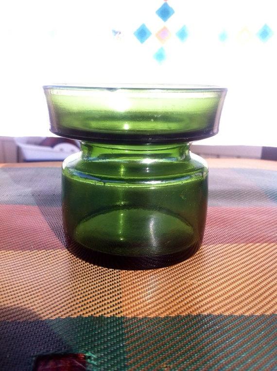 Item du jour! Use code LETSDANSK for 16% off today only!   Dansk Modern Green Glass Candle Holder 1960s by PinkBuffaloVintage, $3.67