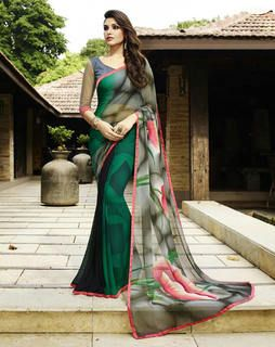 Green Georgette with green blouse grey