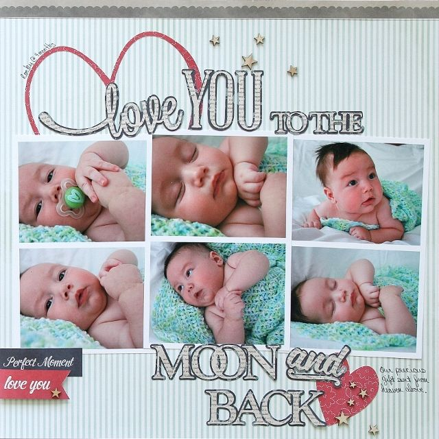 """Precious """"Love you to the Moon and Back"""" layout made using the Front Porch Collection by Pebbles   - Scrapbook.com"""