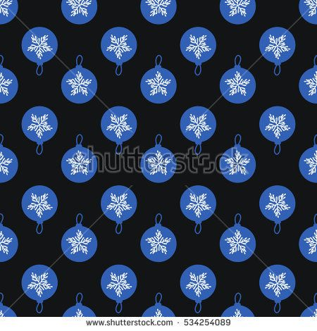 Blue Christmas-tree balls background. Seamless pattern abstract. Hand drawing of a snowflake. Vector illustration on a black background.