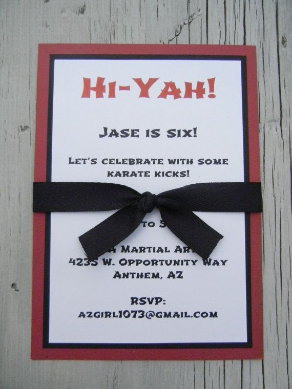 Martial Arts Birthday Invitation by paperrecollections on Etsy, $3.00