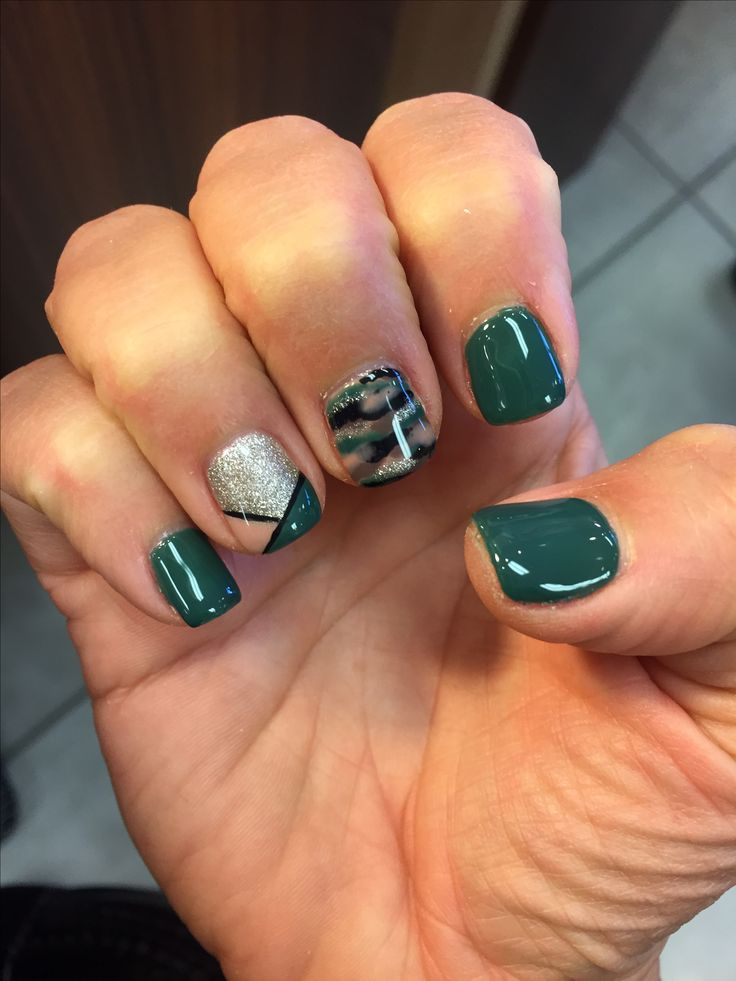Fall Camo Nail Design. Gel Shellac Mani Thanksgiving