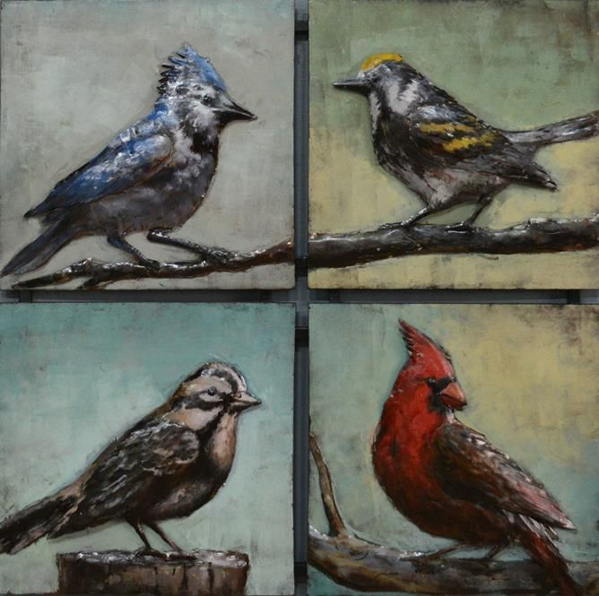 $499.95 This 3D Steel Wall Art Painting 4 Birds Square is an attractive feature to your Indoor or Outdoor room. This wall art has been hand crafted with a metal frame and handpainted on metal to create a 3D piece. Wonderfully unique, if you are looking for that WOW factor, these are stunning! Dimensions: 820MM X 820MM Colour: Natural Rusted & Colourful paint