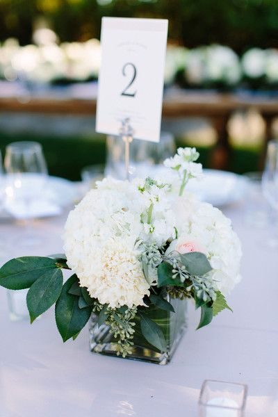 Simple + chic all-white flower centerpieces with simple table numbers {Megan Clouse Photography}