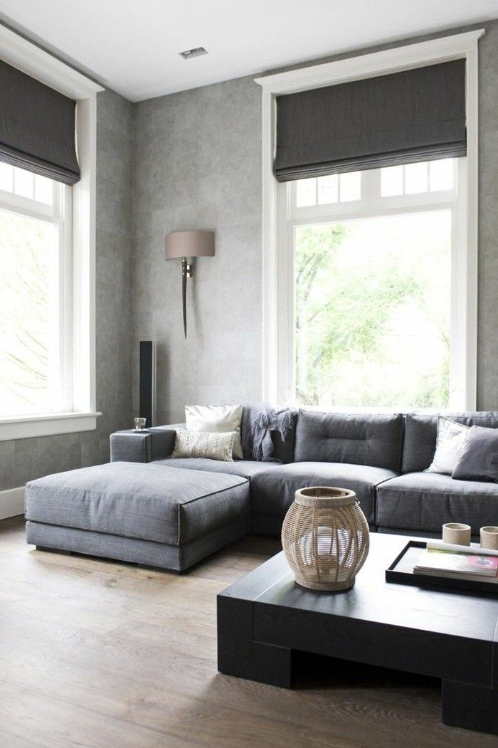 Modern Gray Living Room Ideas: Light Grey Corner Sofa Which Has Combined With The Roman