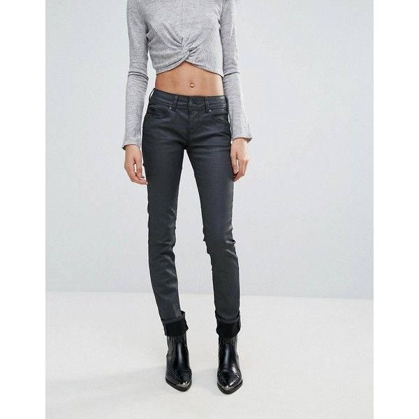 Pepe Jeans New Brooke Waxed Skinny Jeans ($98) ❤ liked on Polyvore featuring jeans, grey, skinny fit denim jeans, tall skinny jeans, gray jeans, skinny jeans and zipper pocket jeans