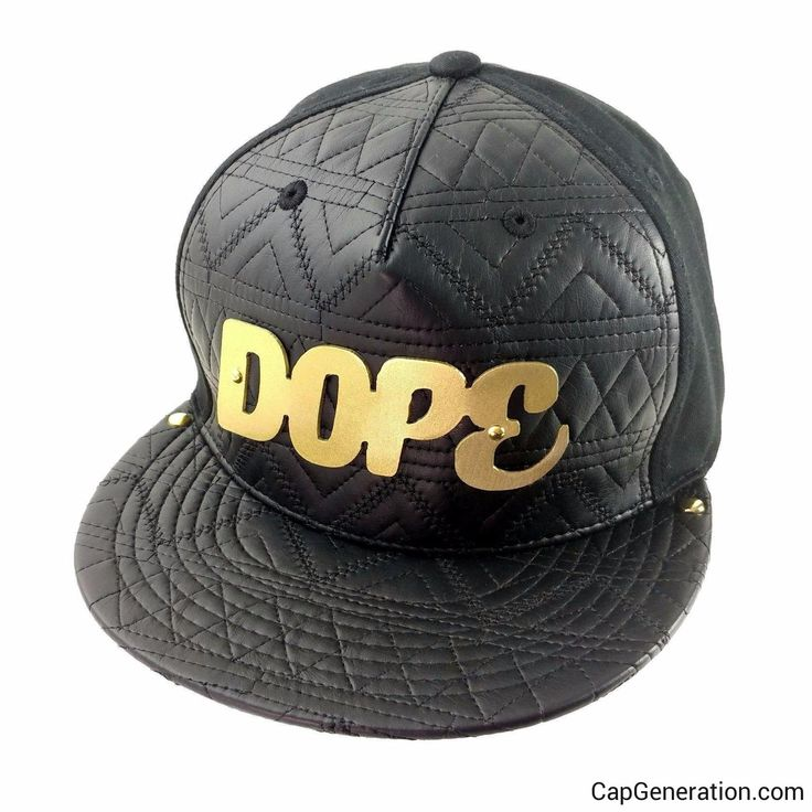 DOPE Gold (or Silver) Metal Plate Black Mixed Leather SnapBack Baseball Cap