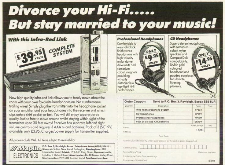 Divorce your Hi-Fi.... But stay married to your music - classy copy line here on an old maplin ad - technology has no bounds