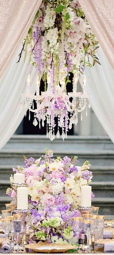 Ivory,  pink and lavender wedding with floral chandelier