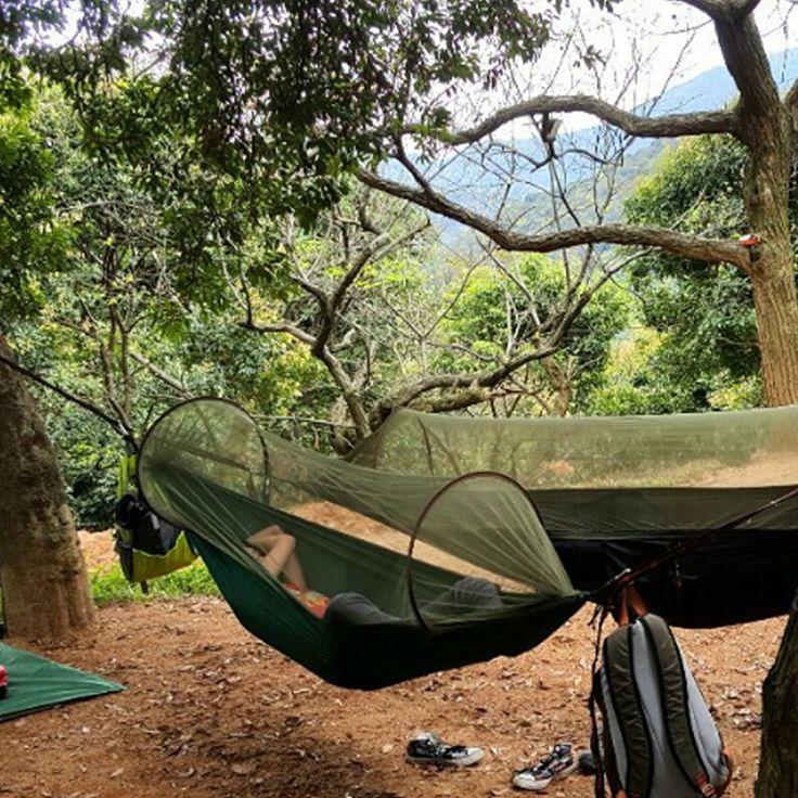 야외 캠핑 낙하산 해먹 모기 그물 Hamac 수 캠핑 서바이벌 여행 하이킹 트레킹 침낭 텐트 매트