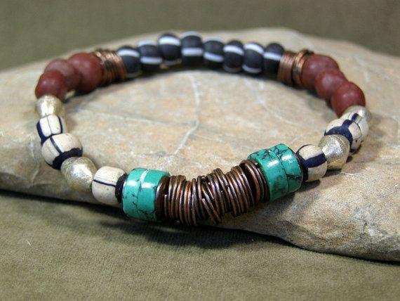 Mens Tribal African Beaded Bracelet   by StoneWearDesigns