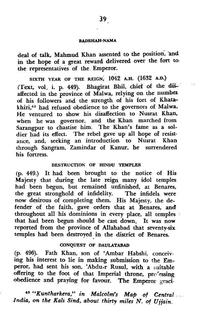Destruction of Hindu temples under Shah Jahan's reign. Source: Badshah-Nama