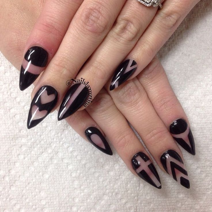 Black & clear negative space elegant stiletto nail art - in the colour that goes with everything & seen at many catwalk shows...x