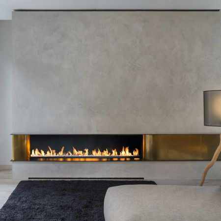 modern gas fire with brass panels