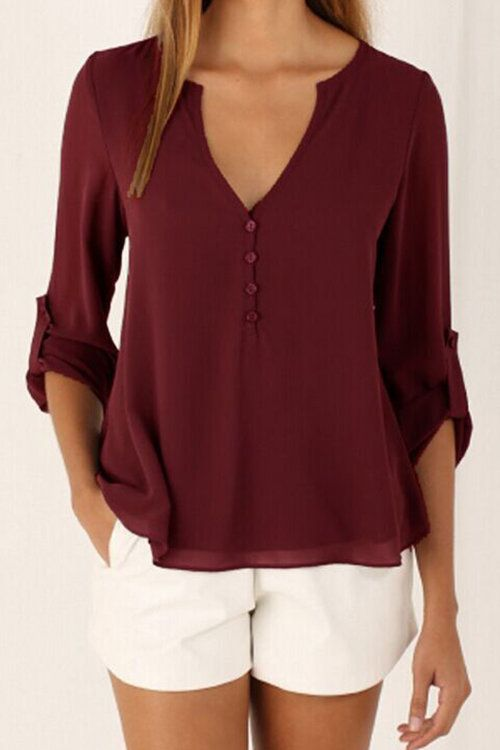 Burgundy V-neck Long Sleeves Chiffon Shirt -YOINS