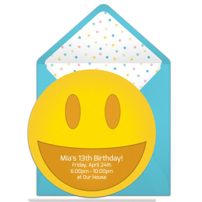 Customizable, free Emoticon online invitations. Easy to personalize and send for a emoji party. #punchbowl