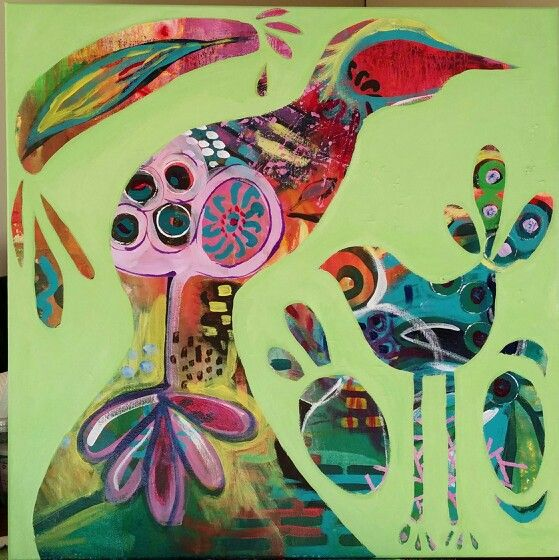"""Mint Squawk"" Mixed media on canvas by Susan Curtin. http://www.facebook.com/susancurtinart"