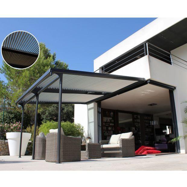 Tonnelle Adossee Aluminium Lames Orientables 4x3 5 M Azura In 2020 Pergola Plans Design Aluminum Pergola Pergola With Roof
