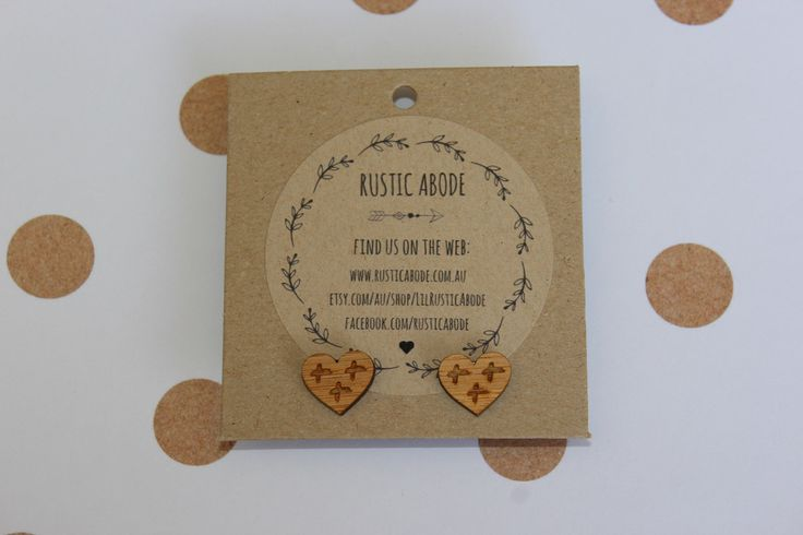 Handmade Wooden Laser Cut Stud Earrings ~ Cross Your Heart